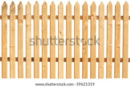 Picket fence isolated on white.  You can replicate it left and right any times. - stock photo