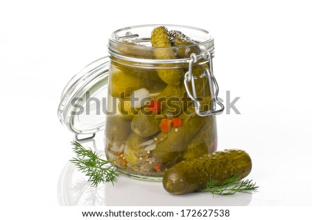 Pickled cucumbers sour cucumbers with dill  - stock photo