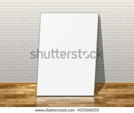 Picture frames on brick wall and the wooden floor. 3d illustration.