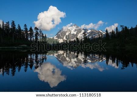 Picture Lake and Mount Shuksan,Washington - stock photo