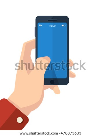 picture of hand with smartphone. finger on the clean screen with place for your personal design. Isolate on white background.