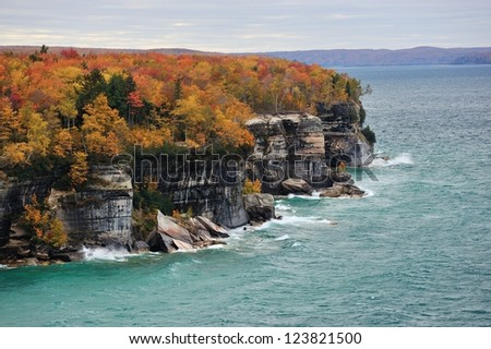 Pictured Rocks National Lakeshore.  Michigan Autumn colors - stock photo