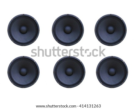 6 pieces loudspeaker isolated on white