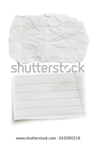 2 Pieces of torn paper on plain background. Copy space - stock photo