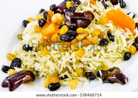 Pilaf with dried fruit