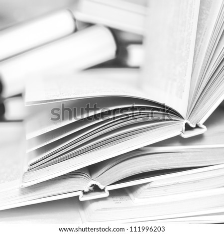 Pile of books in black and white