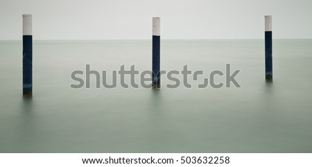 Piles in the water