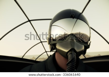 Pilot Wearing Mask And Helmet In Cockpit Of Fighter Jet.  - stock photo