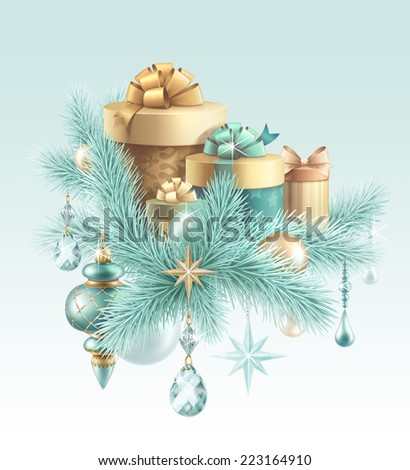 pine branch and gift boxes holiday illustration, winter festive background, Christmas tree decoration