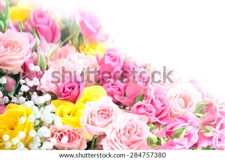 Pink  and yellow roses bouquet with free space for text - stock photo