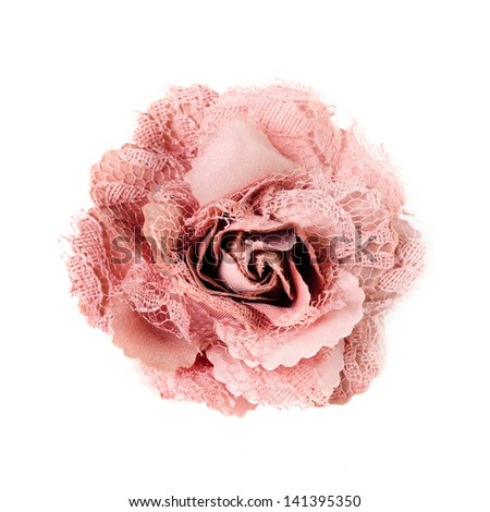 pink brooch  flower isolated on white background - stock photo