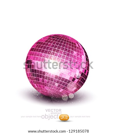 pink disco ball on a white background - stock photo
