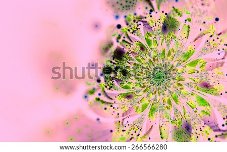 pink fantasy artistic flower with lighting effect. Beautiful shiny futuristic background for wallpaper, interior, album, flyer cover, poster, booklet. Fractal artwork for creative design. - stock photo