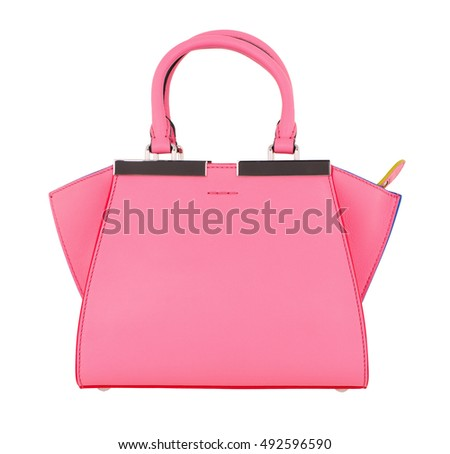 pink female bag on a white background isolate