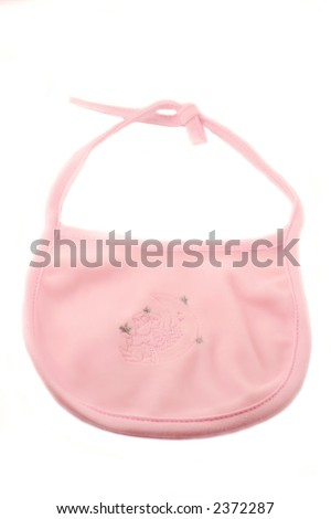 pink fleecy baby bib on a white  background