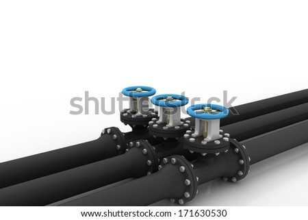 pipe and valve - stock photo