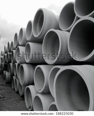 "36"" Pipe stored for use in future water pipeline - stock photo"