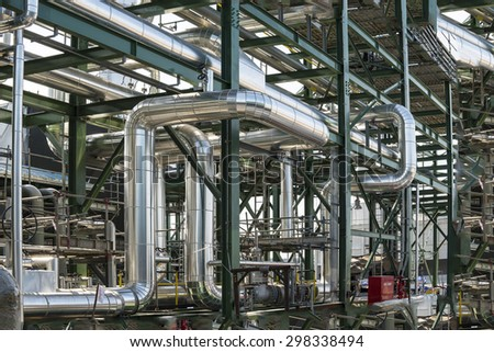 piping construction ,During pipeline construction products The scaffolding for construction - stock photo