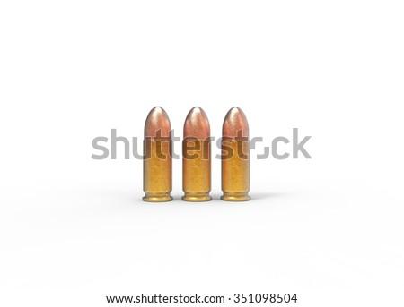 3 Pistol Bullets - stock photo