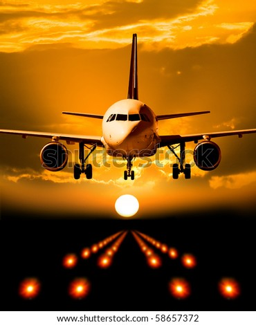 Plane in the air - stock photo