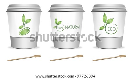 3 plastic coffee or tea cups with stirrers over white background - stock photo