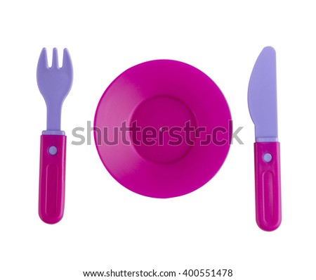 plastic tableware toys isolated on white background