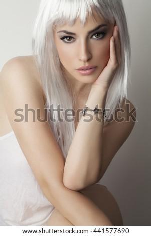 platinum hair beauty, studio portrait - stock photo