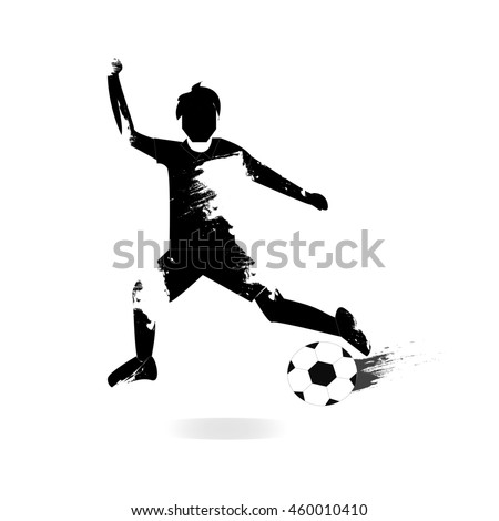 player with football, isolated on white.
