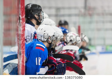 Players can not wait to go on the ice.  - stock photo