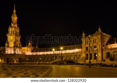 'Plaza de Espa���±a' at night in Sevilla, Spain. - stock photo