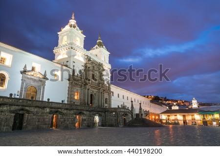 Plaza de San Francisco in old town Quito, Ecuador. - stock photo