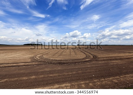 plowed agricultural field for sowing. Spring. Belarus