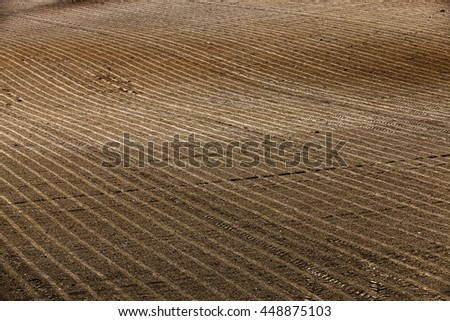 plowed and ready for sowing agricultural fields. close-up
