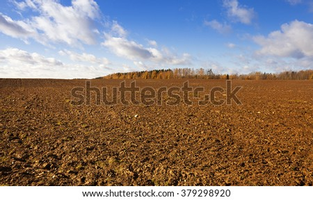 plowed land in the agricultural field. Away trees. Autumn. - stock photo