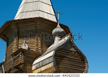 Pochozersky graveyard .Architectural details of the wooden building  . Arkhangelsk region, Russia