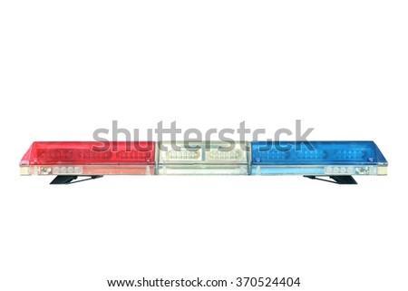 police car siren light, isolated on white background - stock photo