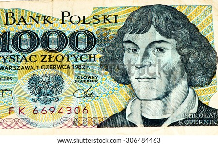 1000 Polish zloty bank note. Zloty is the national currency of Poland