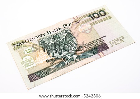 100 polish zlotys isolated over white background