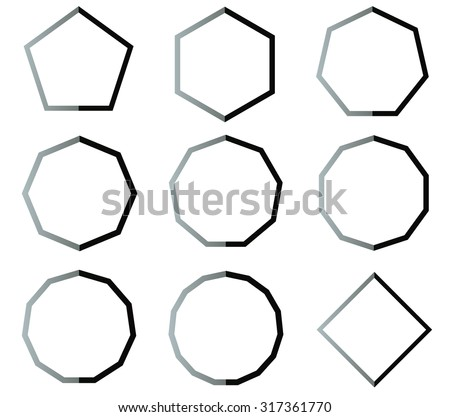 Polygon black and white shapes outline set illustration - stock photo