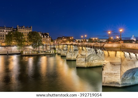 ''Pont Neuf'' Bridge over Seine River, Paris