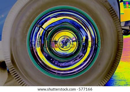 popart car tire hub cap
