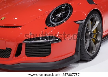 2015 Porsche 911 GT3 RS presented  the 85th International Geneva Motor Show on March 3, 2015 in Palexpo, Geneva, Switzerland