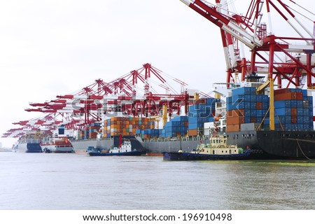 port container terminal - stock photo