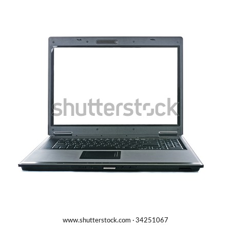 portable computer with isolated  screen on white