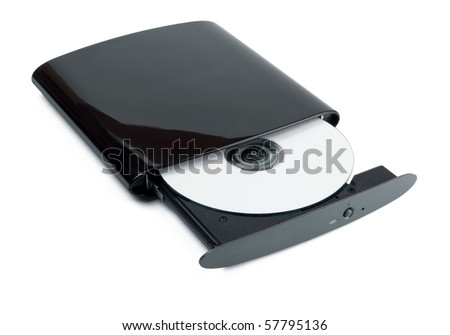 Portable slim external CD DVD burner writer isolated on white - stock photo