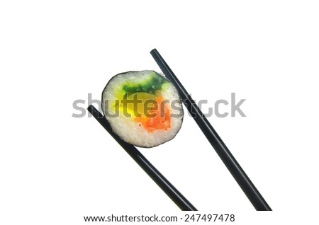 portion sushi and black hopsticks isolated on a white background