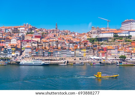 Porto in Portugal, the river Douro, colored buildings with tiles roofs