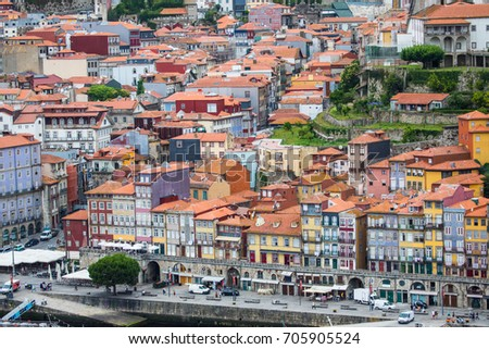 Porto, Portugal - July, 2017. The Douro River and the Ribeira District which is the most famous part of Porto