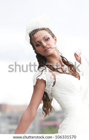 portrait bride in wedding dress