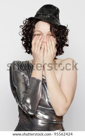 portrait of a beautiful young girl laughing, isolated - stock photo